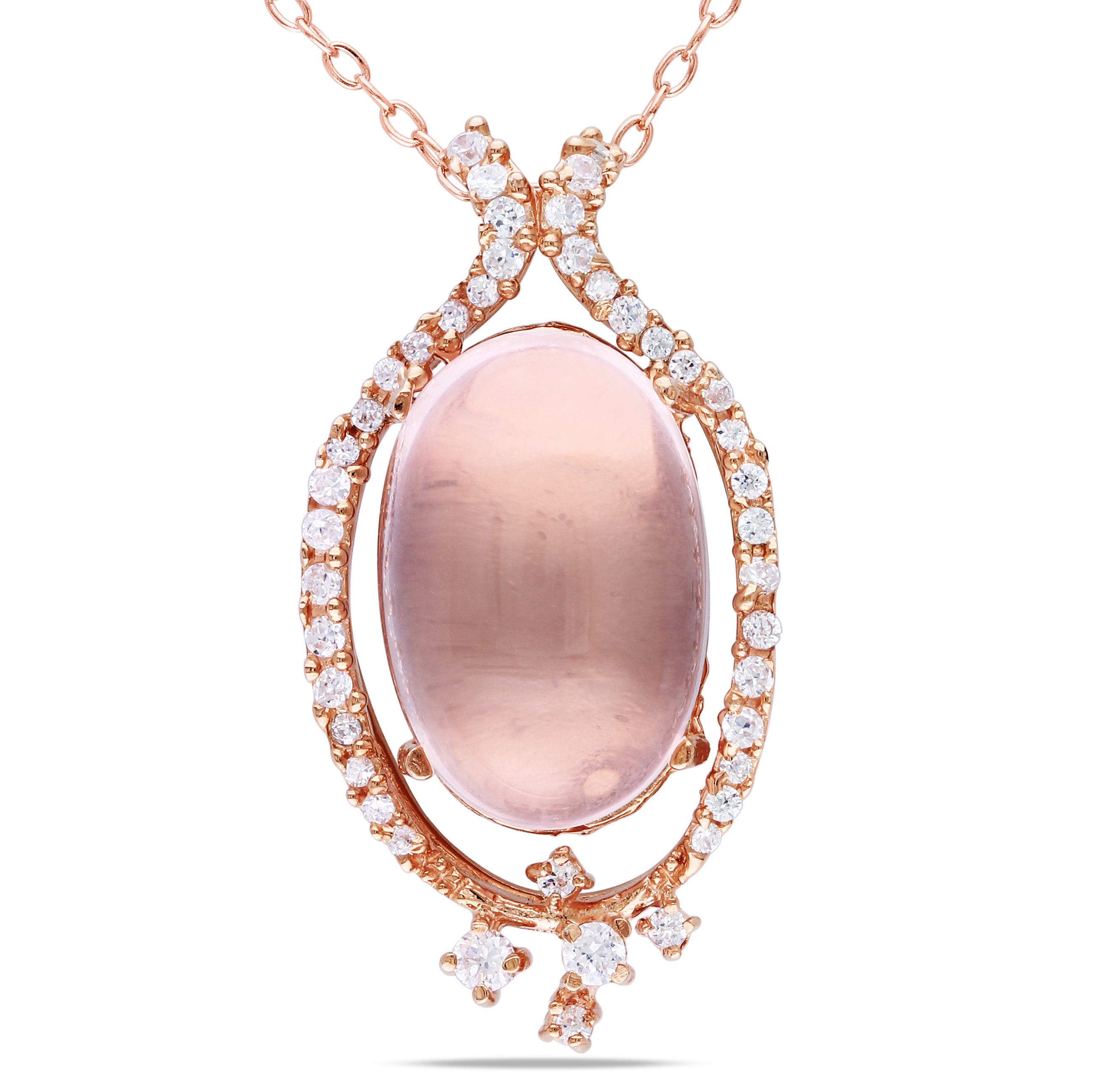 Pink sterling silver rose quartz and cubic zirconia pendant necklace image is loading pink sterling silver rose quartz and cubic zirconia aloadofball Image collections