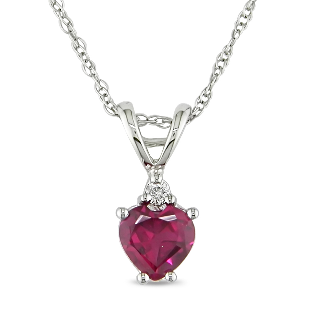 Amour 3/4 ct.t.w. Heart Shape Ruby and Diamond Accent Pendant in 10k White Gold, I1-I2 at Sears.com