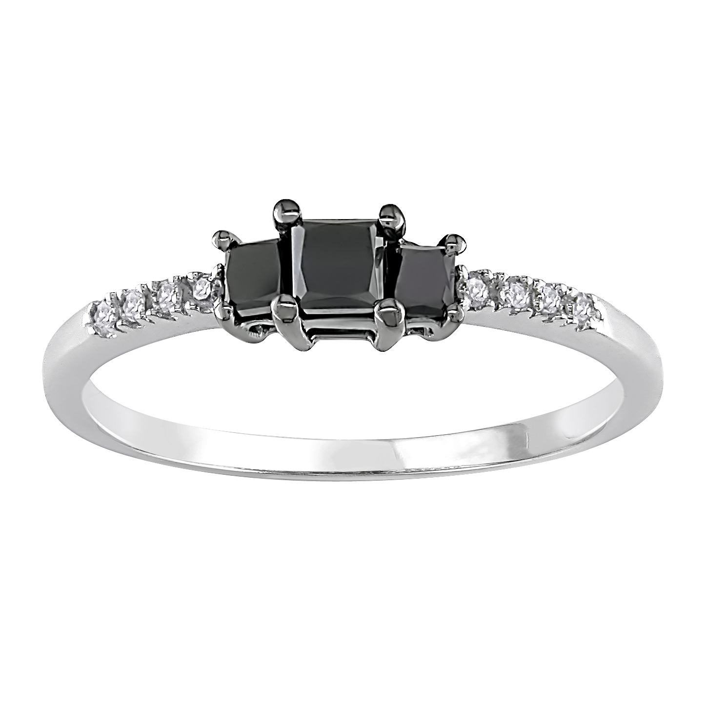 Amour 1/2 ct.t.w. Black and White Diamond Ring in 10k White Gold, I2-I3, G-H-I at Sears.com